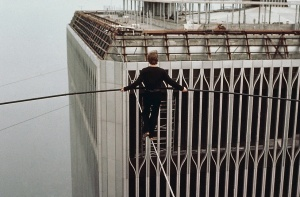 Philippe Petit, Aug 7, 1974, walking a tightrope between the Twin Towers, NYC