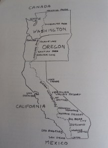 "The Pacific Coast Trail map from ""I Promise Not To Suffer."""