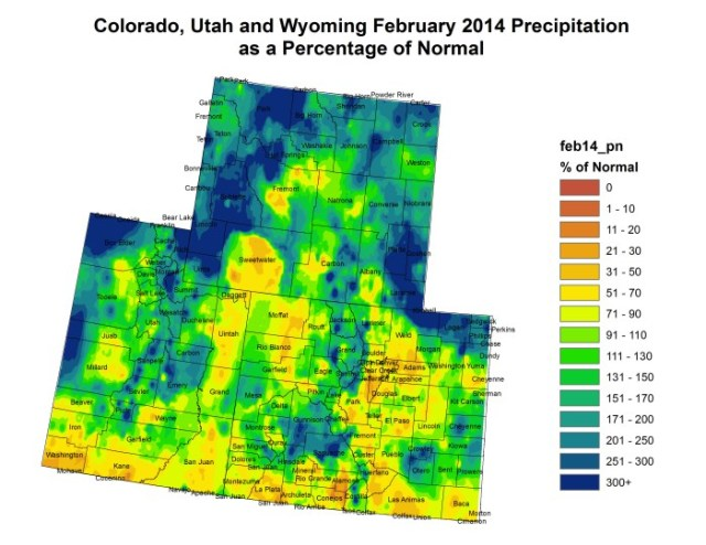 wyutcoprecipitation022014percentofnormal