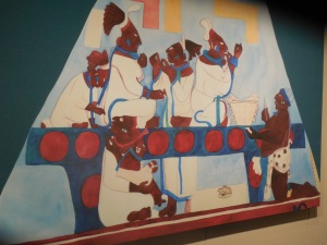 Mural from Room 3, Bonampak. Using Sting-ray spines, the women ritually let blood from their tongues.