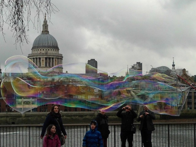 St. Paul's as seen through multi-colored bubbles.