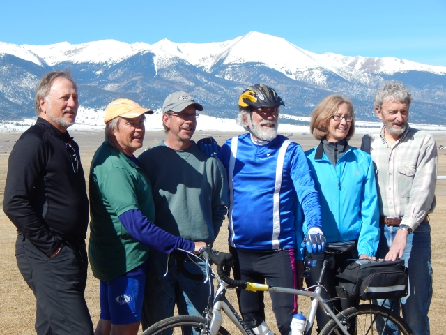 Local distance riders train for Ride the Rockies.  From left Brent Bruser, Jim Gearhart, Mark Stamper, Mark Dembosky, Lori Fox and Locket Pitman.