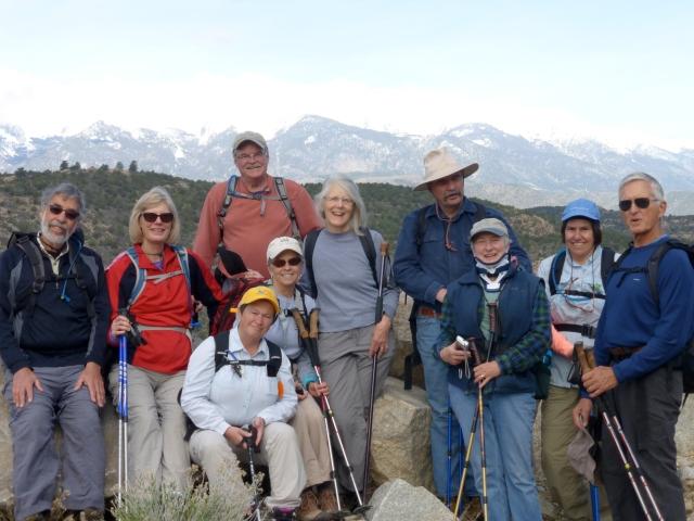 left to right: Phil and Debbie Rabinowitz, DeAnne Montgomery, Becky Mazurek, Huestis, Doris Dembosky, Tom Shepard, Dee Shepard, Carmel Huestis, Bill Mazurek. photo by hiker, Steve Bauer.