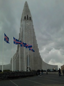 The flags in front of the church indicate the wind velocity.